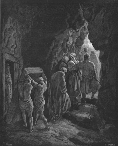 Woodcut by Gustave Doré depicting the burial of Sarah in the cave