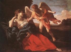 The angel comforts Hagar. (Giovanni Lanfranco)