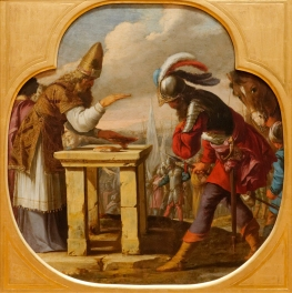 A fanciful depiction of the meeting between Abraham and Melchizidek (Rennes)