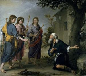 Abraham Receiving the Three Angels, by Bartolome Esteban Murillo