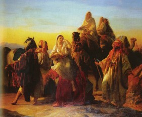 Meeting of Isaac and Rebecca, by Friedrich Bouterwek (1841) - Rebekah will fall off that camel any minute!