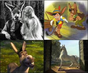 """Donkeys in Transition.  Top left:  James Cagney as Nick Bottom, with Anita Louise as Titania in the 1935 production of A Midsummer Night's Dream (via """"The Many Faces of Nick Bottom"""" on Shakespeare Talks).  Top right:  Pinocchio turns into a donkey, from the 1940 Walt Disney film, Pinocchio, via The Disney Wiki.  Bottom Left:  Donkey (voiced by Eddie Murphy) in Shrek the Third (via HD Wallpapers).  Bottom Right:  Donkey as Stallion in Shrek II (via Wiki Shrek)."""
