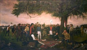 In Surrender of Santa Anna, artist William Huddle portrays the dramatic end of the Texas Revolution with a wounded Sam Houston accepting the surrender of Mexican general Antonio López de Santa Anna.  Houston is remembered for his role in establishing modern Texas, but few remember his identity as a Cherokee.